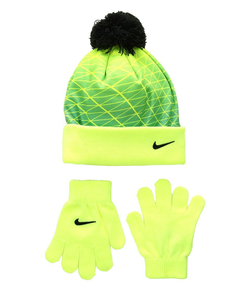 Nike Kids - Graphic Pom Beanie Gloves Set (Little Kids) (Volt) Beanies