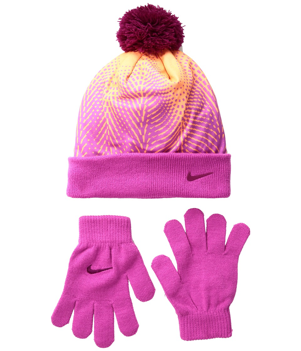 Nike Kids - Graphic Pom Beanie Gloves Set (Big Kids) (Peach Cream) Beanies