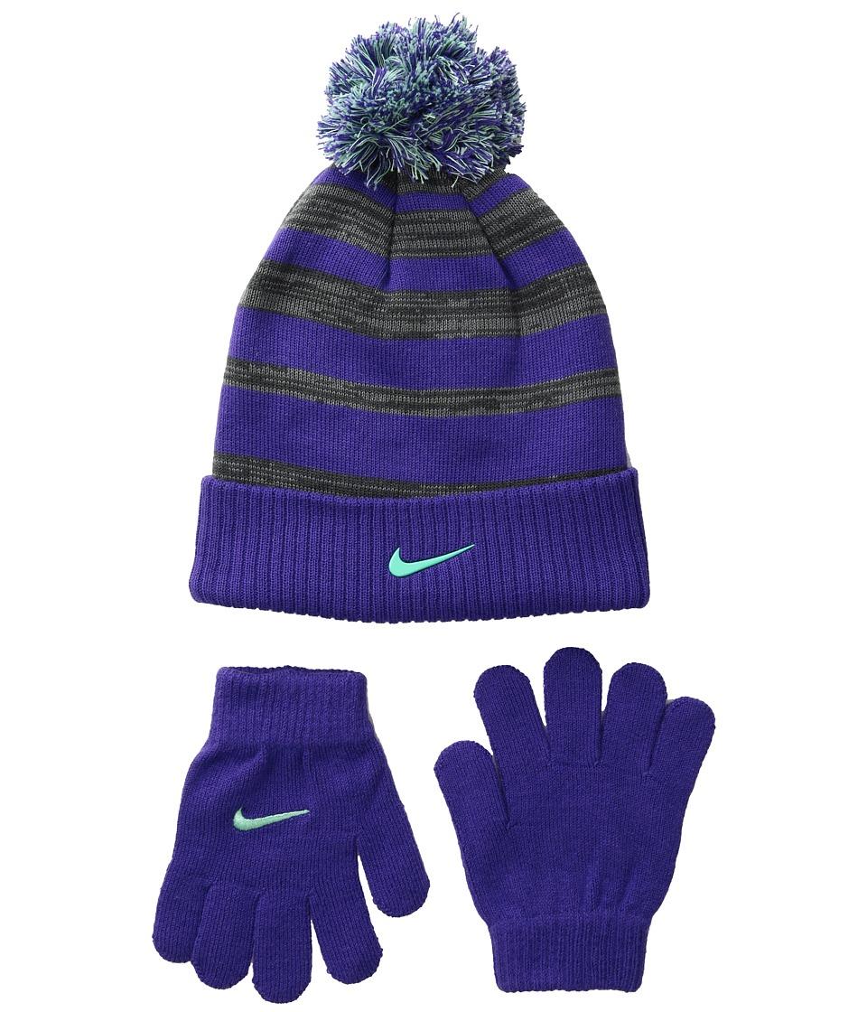Nike Kids - Heather Stripe Beanie Gloves Set (Big Kids) (Dark Iris) Beanies