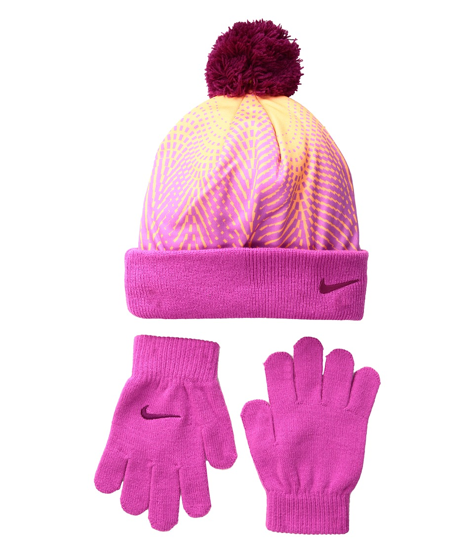 Nike Kids - Graphic Pom Beanie Gloves Set (Little Kids) (Peach Cream) Beanies