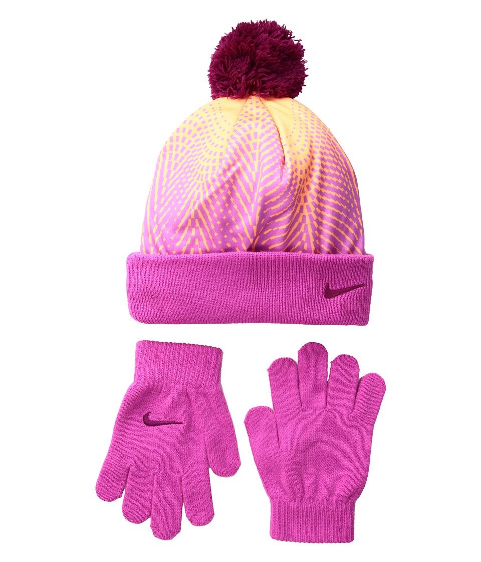 Nike Kids - Graphic Pom Beanie Gloves Set (Little Kids) (Peach Cream) Beanies