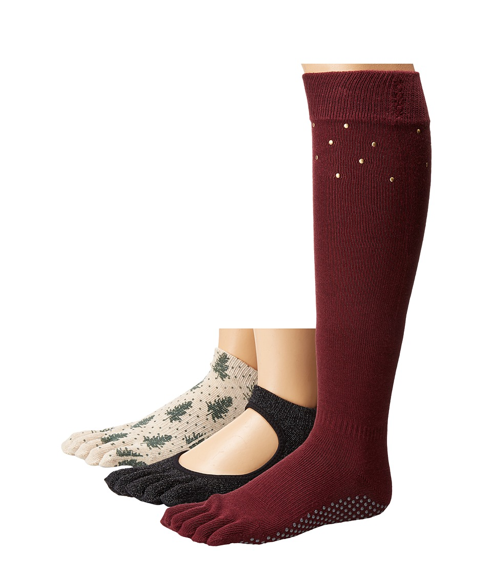 toesox - Holiday Box Set Full Toe w/ Grip 3-Pack (Assorted) Women's Crew Cut Socks Shoes