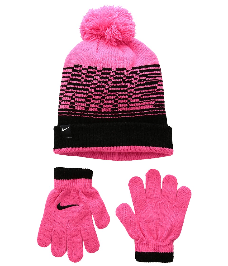 Nike Kids - Velocity Beanie Gloves Set (Little Kids) (Hyper Pink/Black) Beanies
