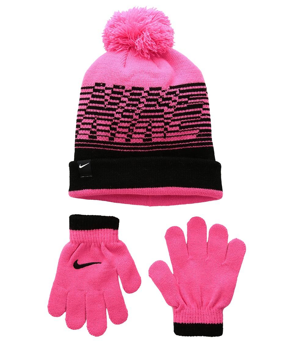 Nike Kids - Velocity Beanie Gloves Set (Little Kids) (Hyper Pink/Black) Beanies