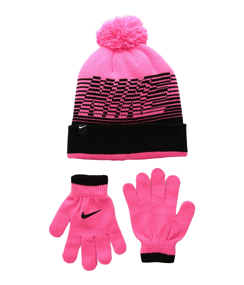 Nike Kids - Velocity Beanie Gloves Set (Big Kids) (Hyper Pink/Black) Beanies