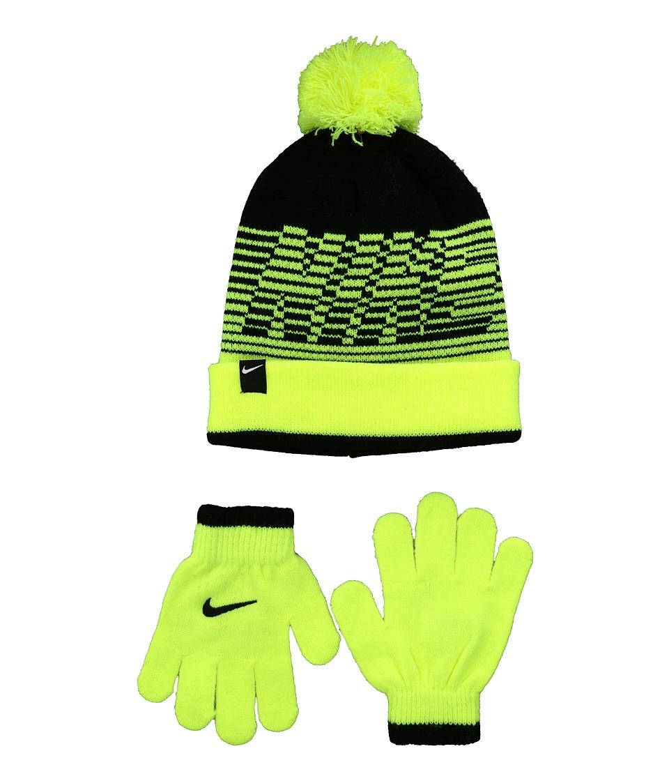 Nike Kids - Velocity Beanie Gloves Set (Little Kids) (Volt/Black) Beanies