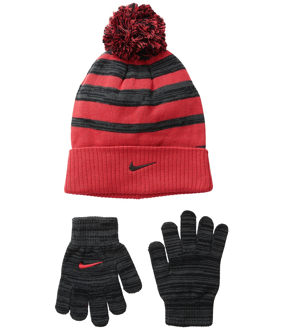 Nike Kids - Heather Stripe Beanie Gloves Set (Big Kids) (University Red/Anthracite) Beanies