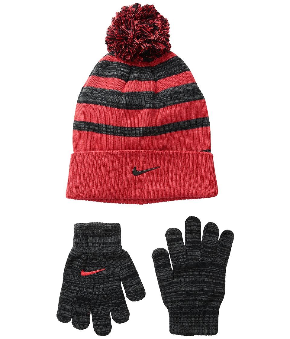 Nike Kids - Heather Stripe Beanie Gloves Set (Big Kids) (University Red/Anthracite) Beanies