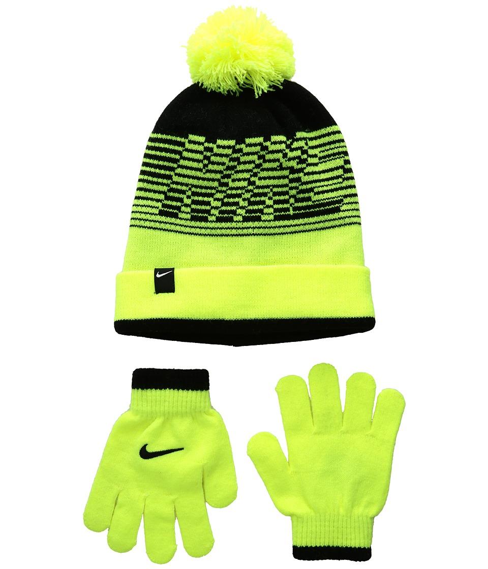Nike Kids - Velocity Beanie Gloves Set (Big Kids) (Volt/Black) Beanies
