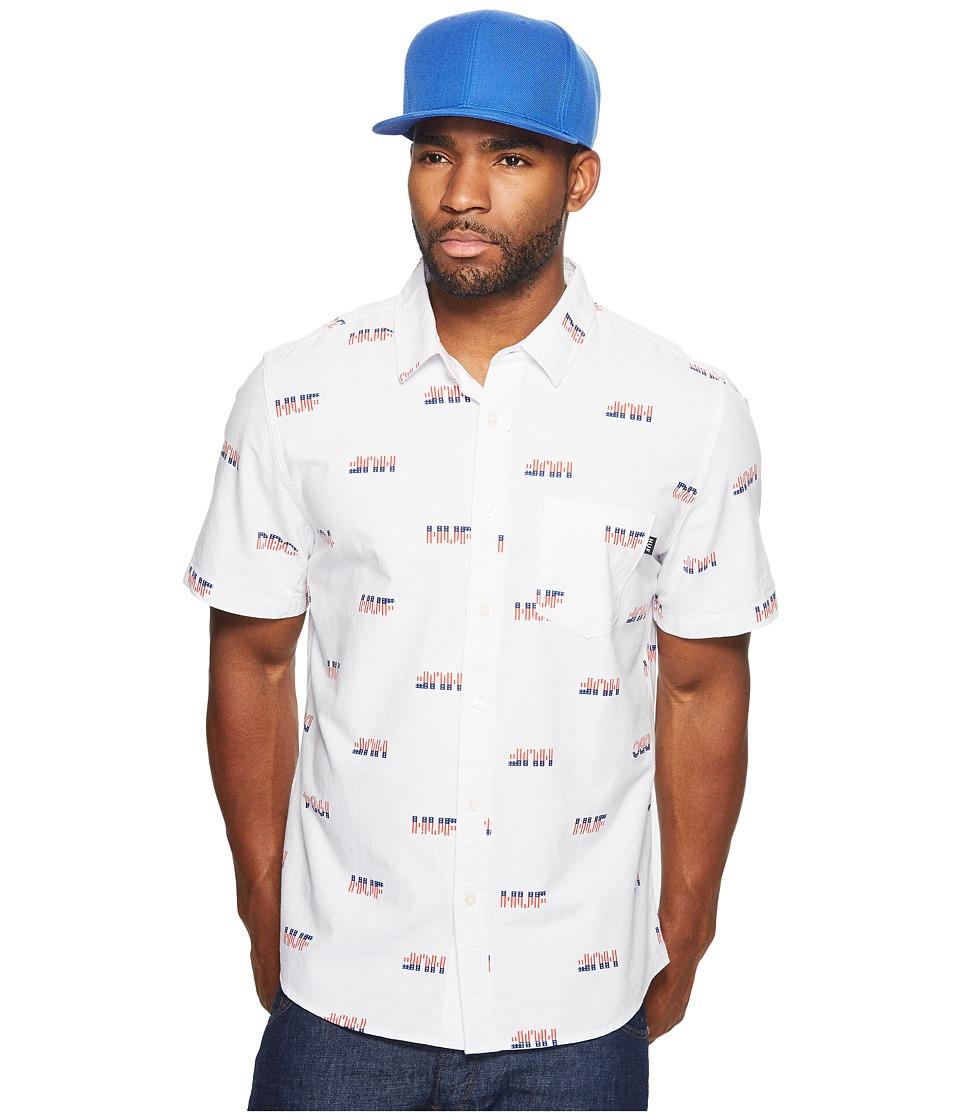 HUF - 1984 Chambray Short Sleeve Shirt (White) Men's Short Sleeve Button Up