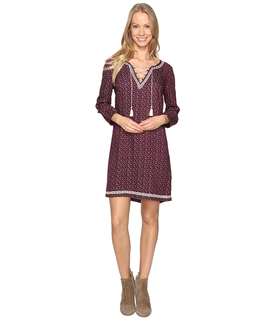 Lucky Brand - Embroidered Ditsy Dress (Purple Multi) Women's Dress