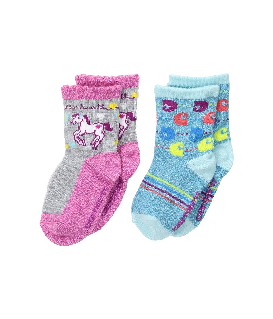 Carhartt - Gripper Crew (Infant/Toddler/Little Kid) (Gray/Blue) Women's Crew Cut Socks Shoes