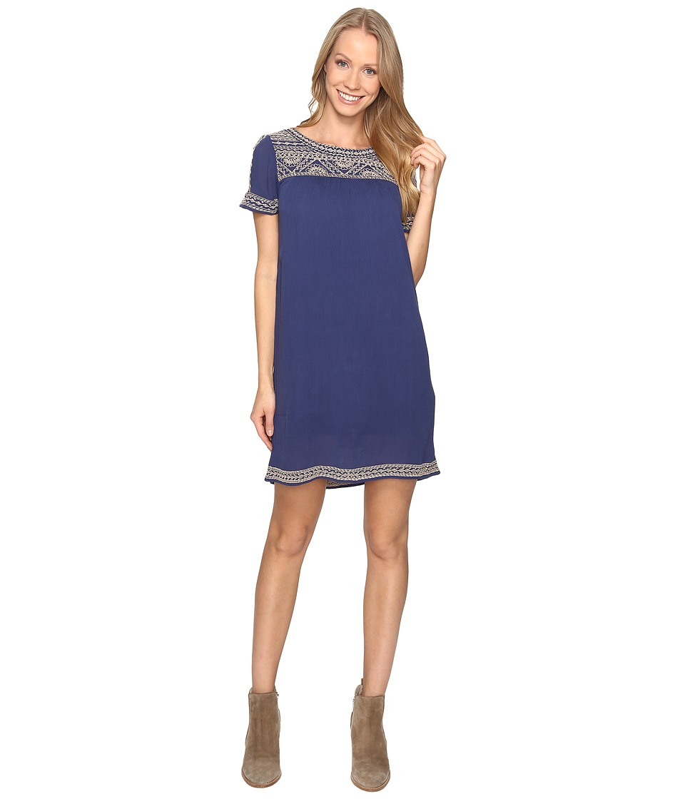 Lucky Brand - Embroidered Shift Dress (Bright Navy) Women's Dress