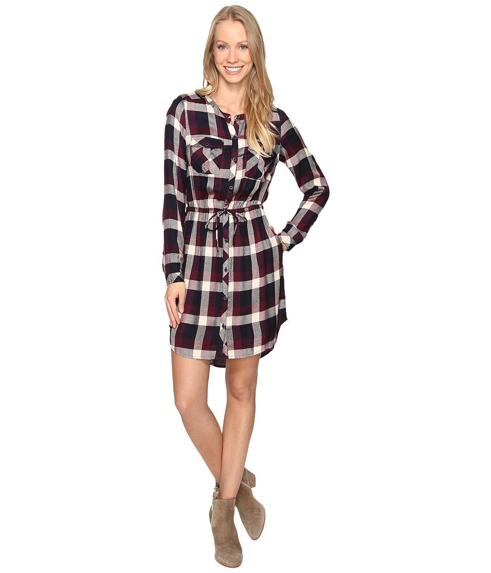 Lucky Brand - Plaid Button Front Dress (Burgundy Multi) Women's Dress