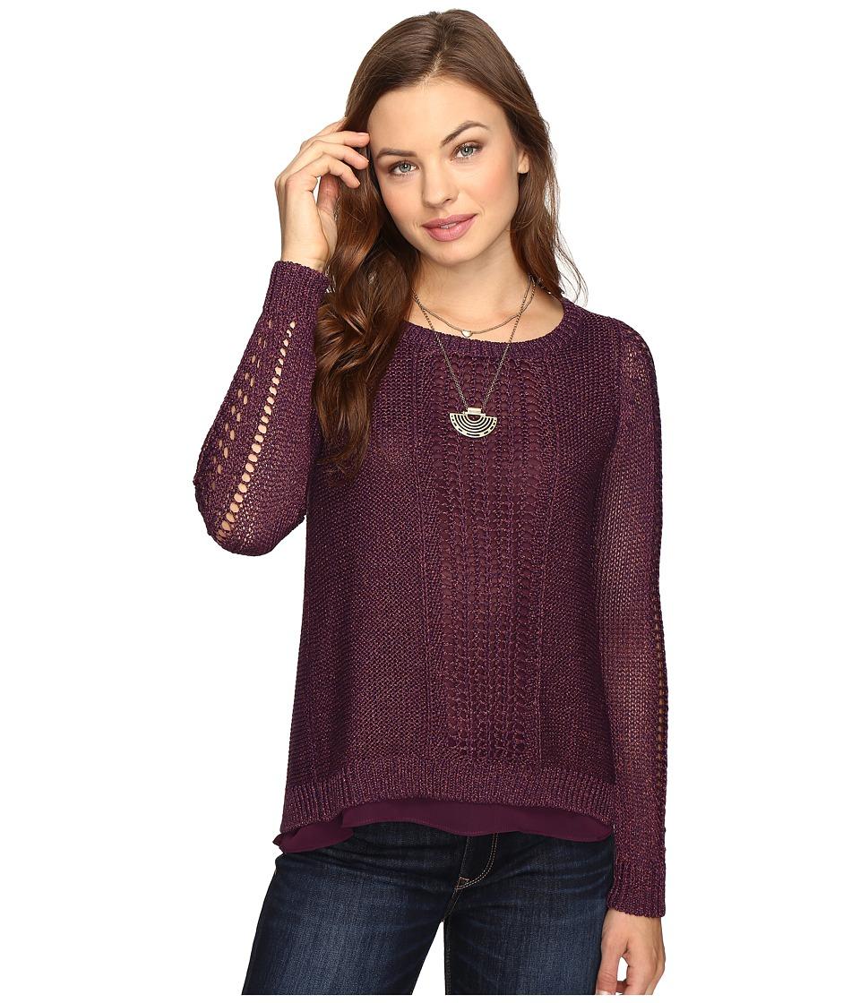 Lucky Brand - Metallic Mixed Sweater (Purple) Women's Sweater