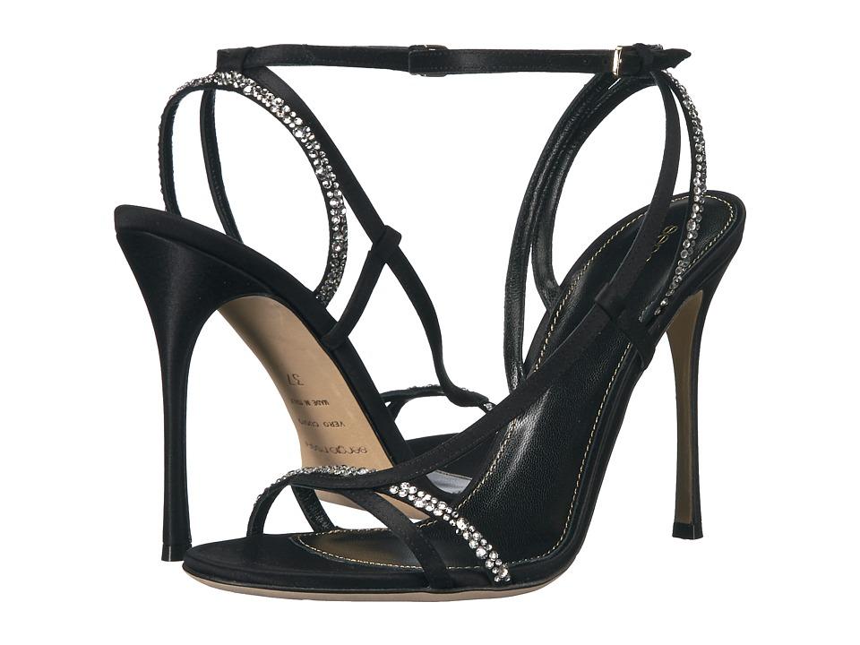 Sergio Rossi Lexington (Black Satin/Strass) High Heels