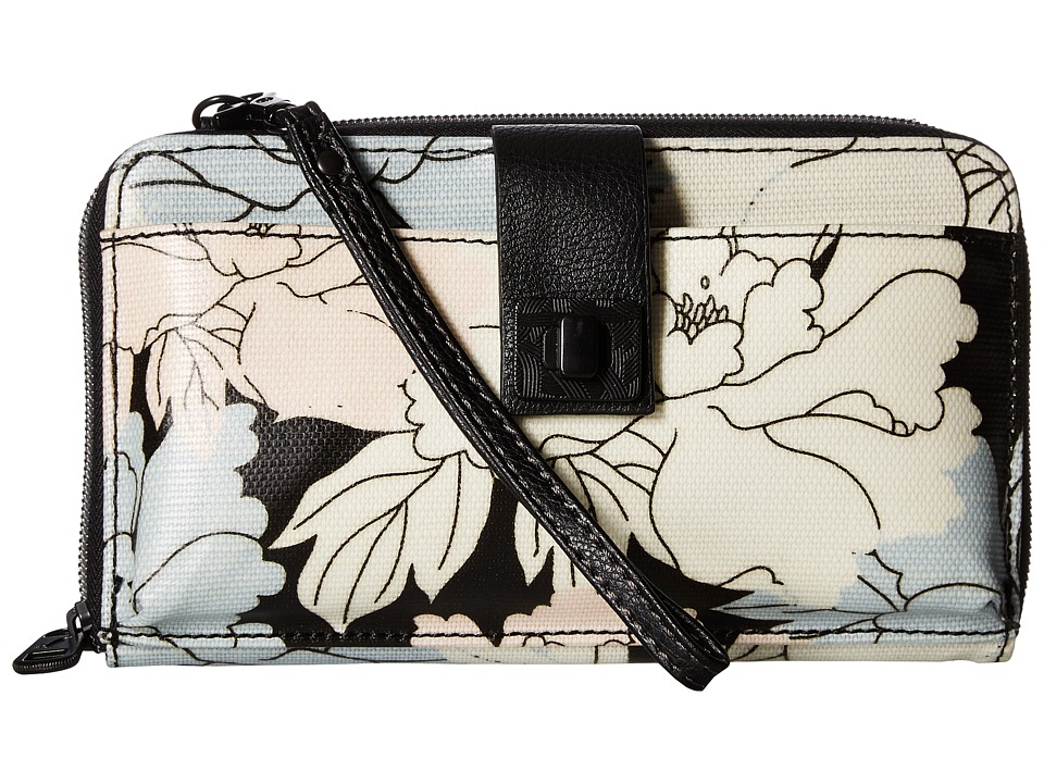 Sakroots - Artist Circle Large Smartphone Crossbody (Black Peony) Clutch Handbags