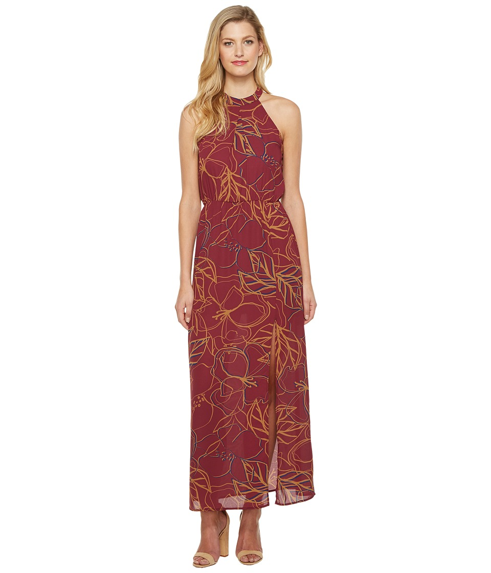 Brigitte Bailey - Karissa Sleeveless Printed Maxi (Wine) Women's Dress