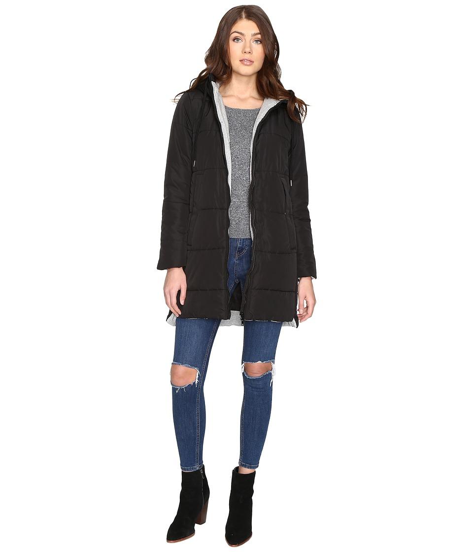 Brigitte Bailey - Danni Quilted Jacket with Hood (Black) Women's Coat