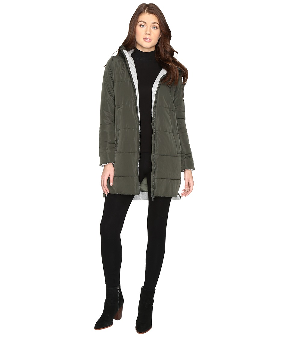 Brigitte Bailey - Danni Quilted Jacket with Hood (Olive) Women's Coat