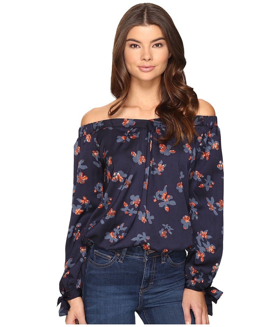 Brigitte Bailey - Daysie Long Sleeve Floral Off the Shoulder Top (Navy/Red) Women's Clothing