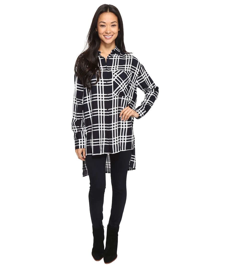 Brigitte Bailey - Jessi Long Sleeve Plaid Top (Navy/White) Women's Clothing