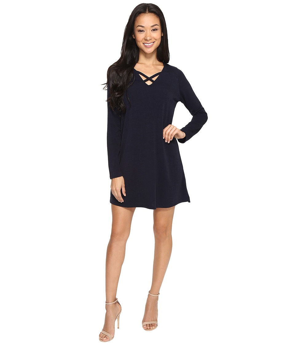 Brigitte Bailey - Secilia Long Sleeve Knit Shift Dress with Front Cross (Navy) Women's Dress