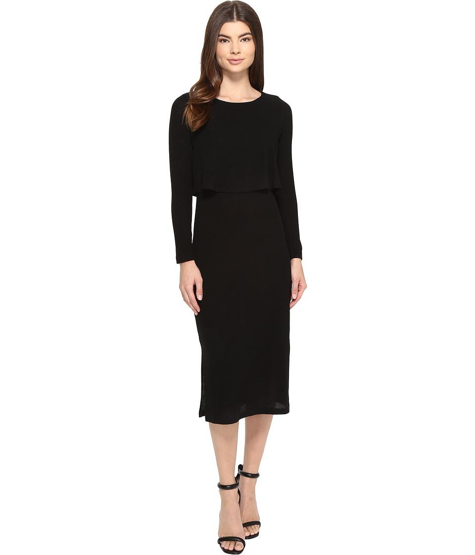 Brigitte Bailey - Gennifer Long Sleeve Knit Midi Dress (Black) Women's Dress