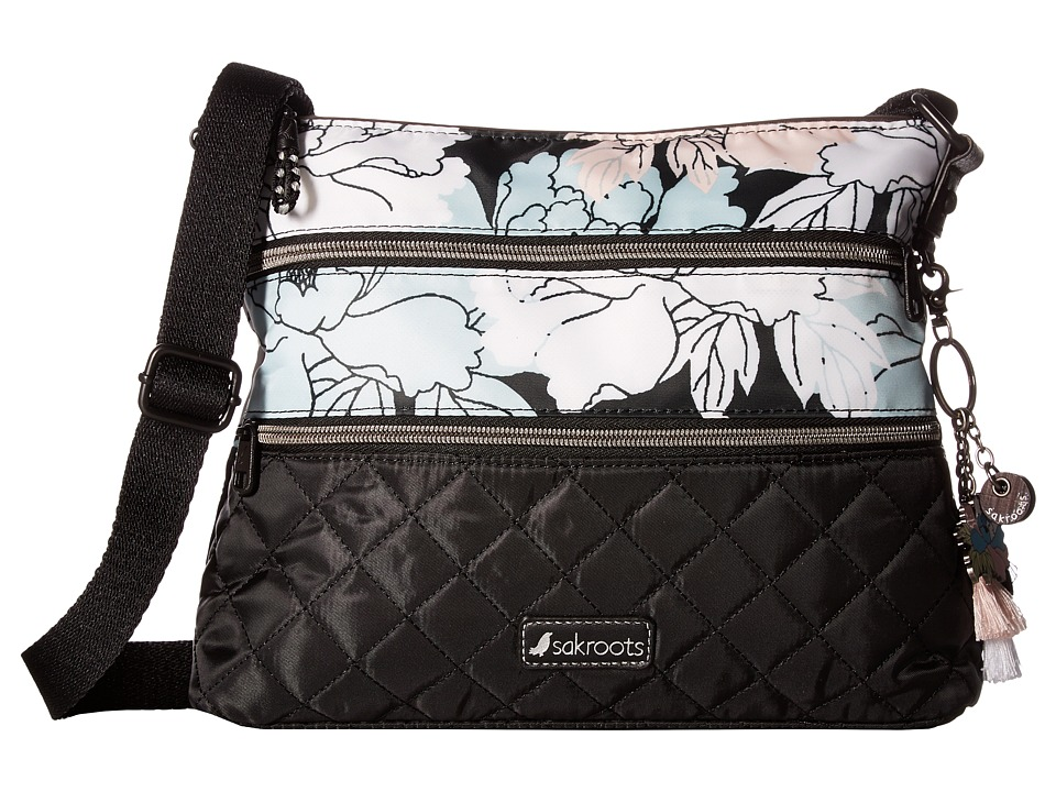 Sakroots - Artist Circle Nylon Crossbody (Black Peony) Cross Body Handbags