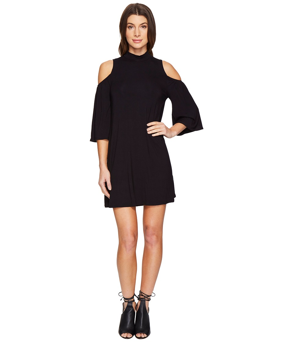 Culture Phit - Jamee Mock Neck Open Shoulder Shift Dress (Black) Women's Dress