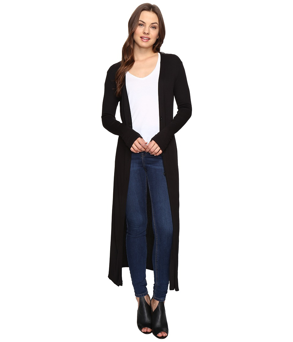Culture Phit - Lynsey Button Up Long Cardigan with Slits (Black) Women's Sweater