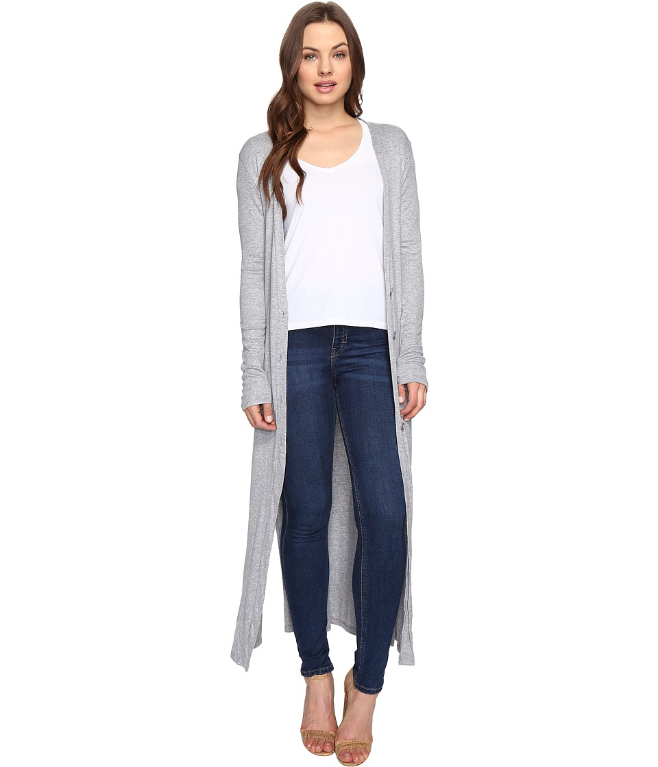 Culture Phit - Lynsey Button Up Long Cardigan with Slits (Heather Grey) Women's Sweater