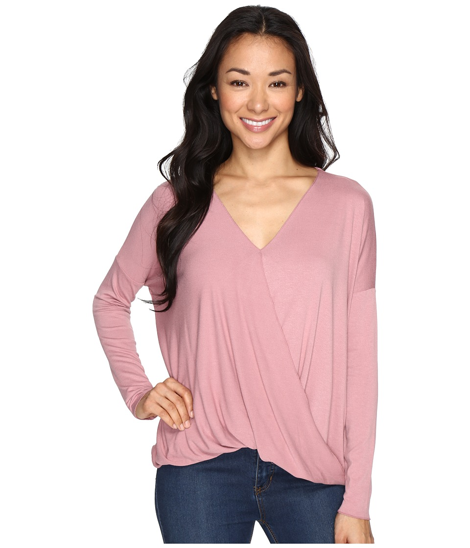 Culture Phit - Mahli Crossover Long Sleeve Top (Rose) Women's Clothing