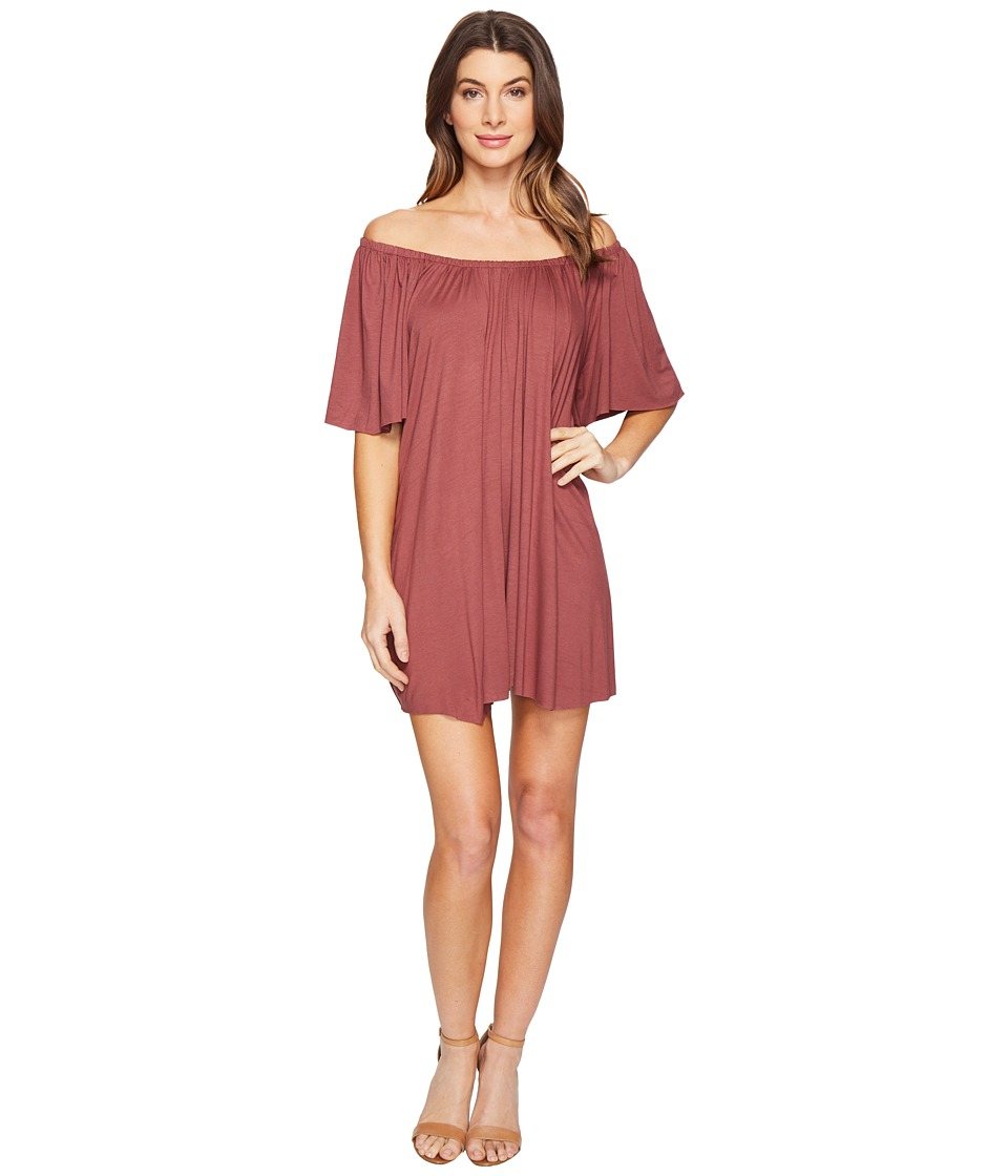 Culture Phit - Loryn Off the Shoulder Dress (Maroon) Women's Dress