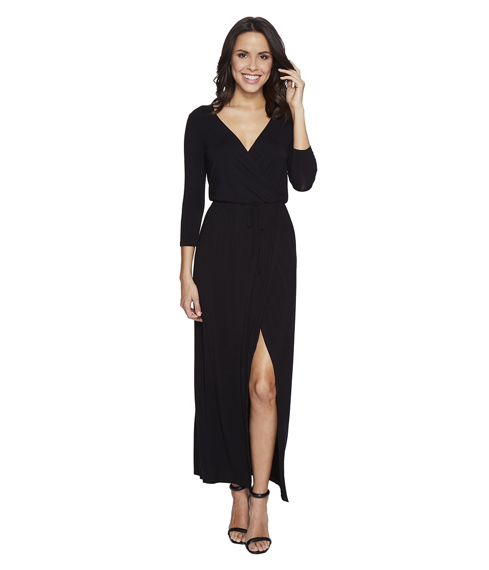 Culture Phit - Nikole 3/4 Sleeve Maxi Dress with Front Slit (Black) Women's Dress