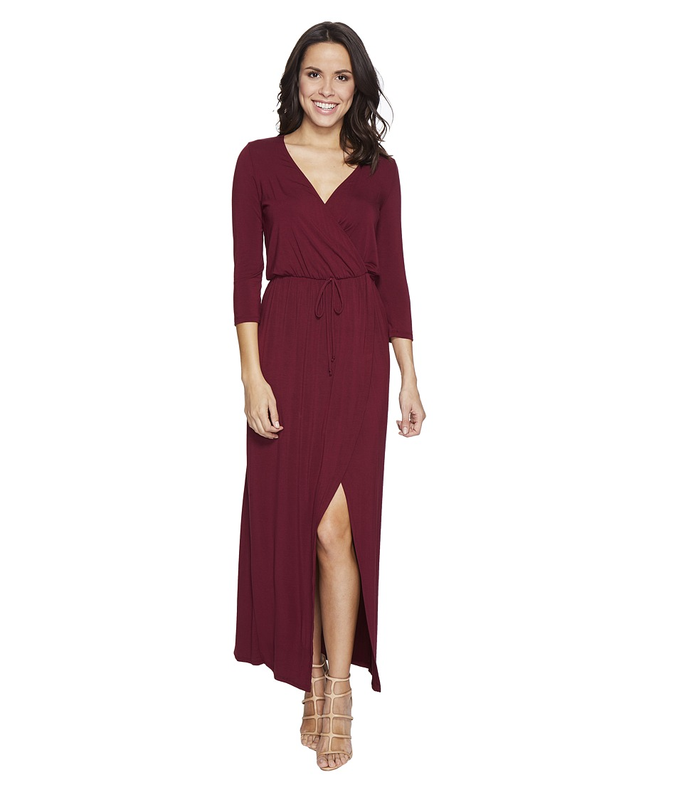 Culture Phit - Nikole 3/4 Sleeve Maxi Dress with Front Slit (Dark Wine) Women's Dress