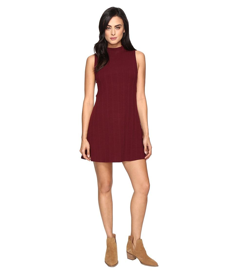 Culture Phit - Jordan Sleeveless Mock Neck Dress with Open Sides (Wine) Women's Dress