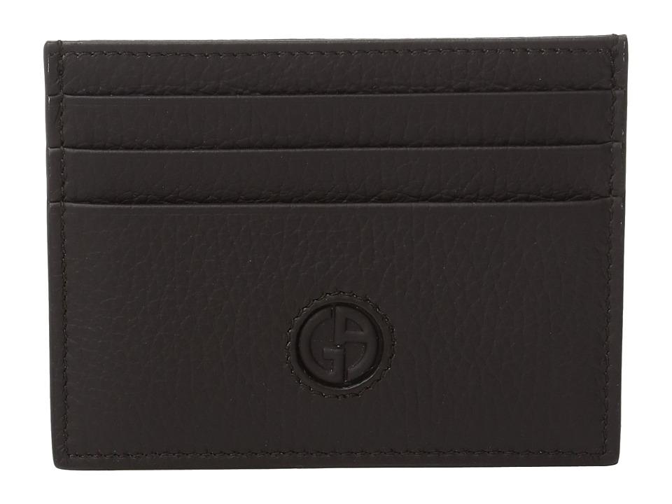 Giorgio Armani - Logo Card Holder (Dark Brown) Credit card Wallet
