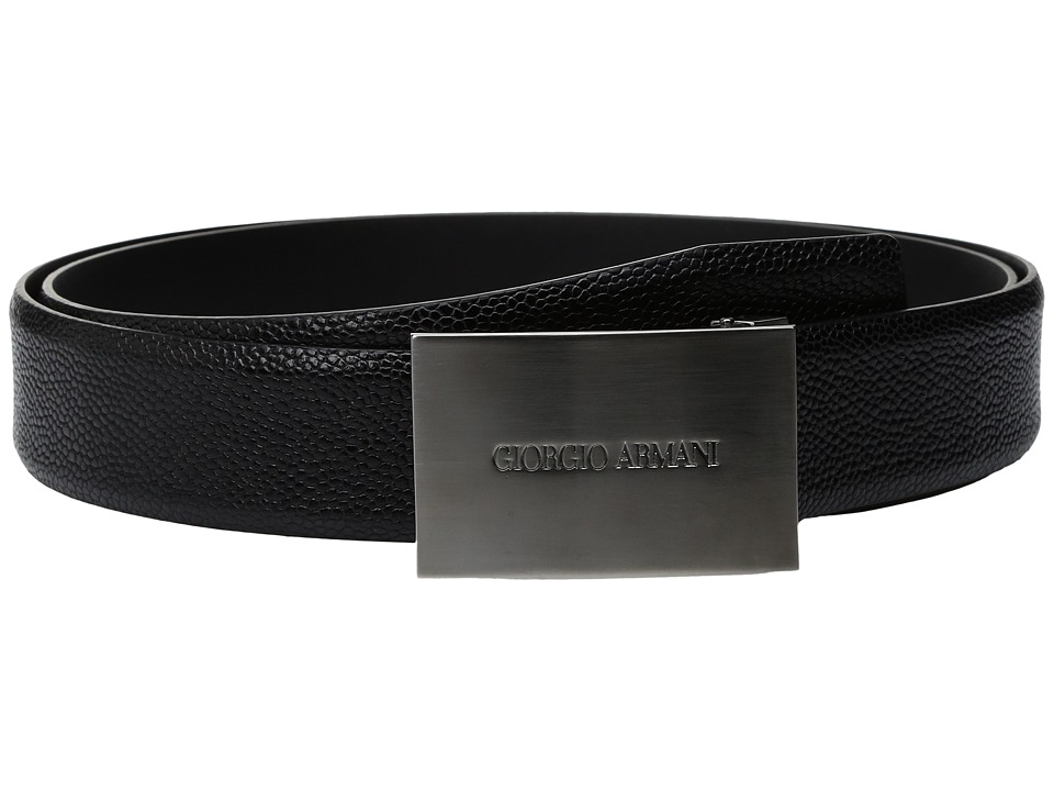 Giorgio Armani - Plaque Buckle Belt (Black) Men's Belts