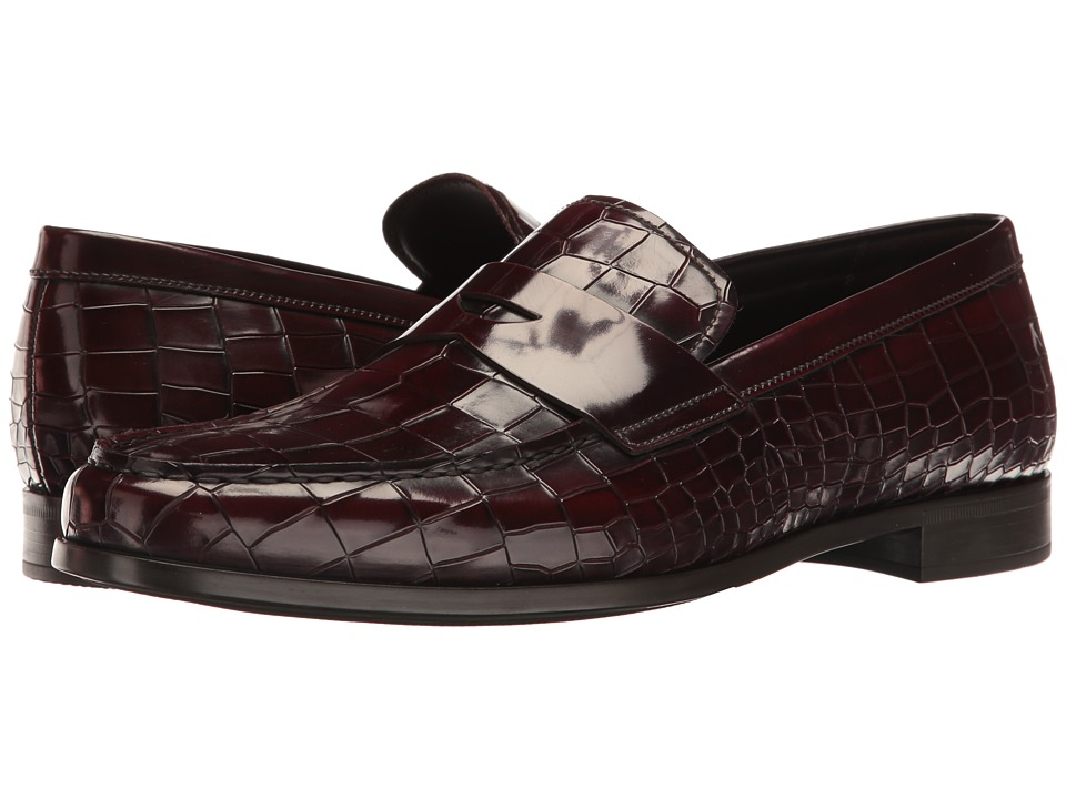 Giorgio Armani - Stamped Croc Loafer (Burgundy) Men's Slip on Shoes