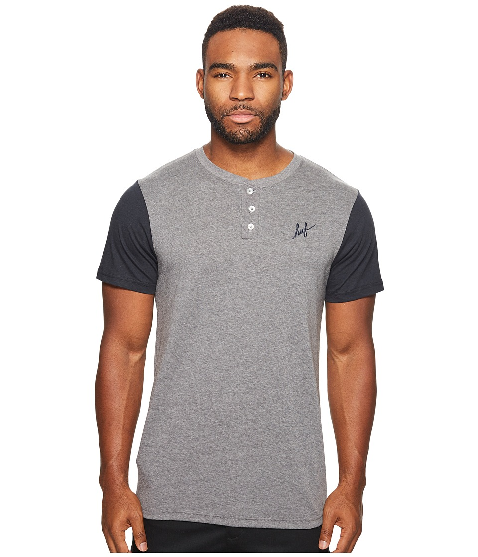HUF - Script Henley (Heather Grey/Navy) Men's T Shirt