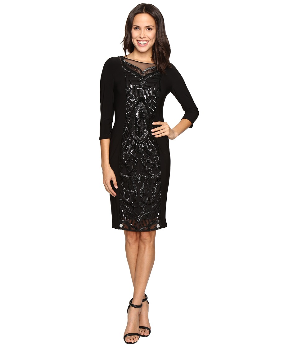 Adrianna Papell - Sequin Panel Jersey Cocktail Dress (Black) Women's Dress