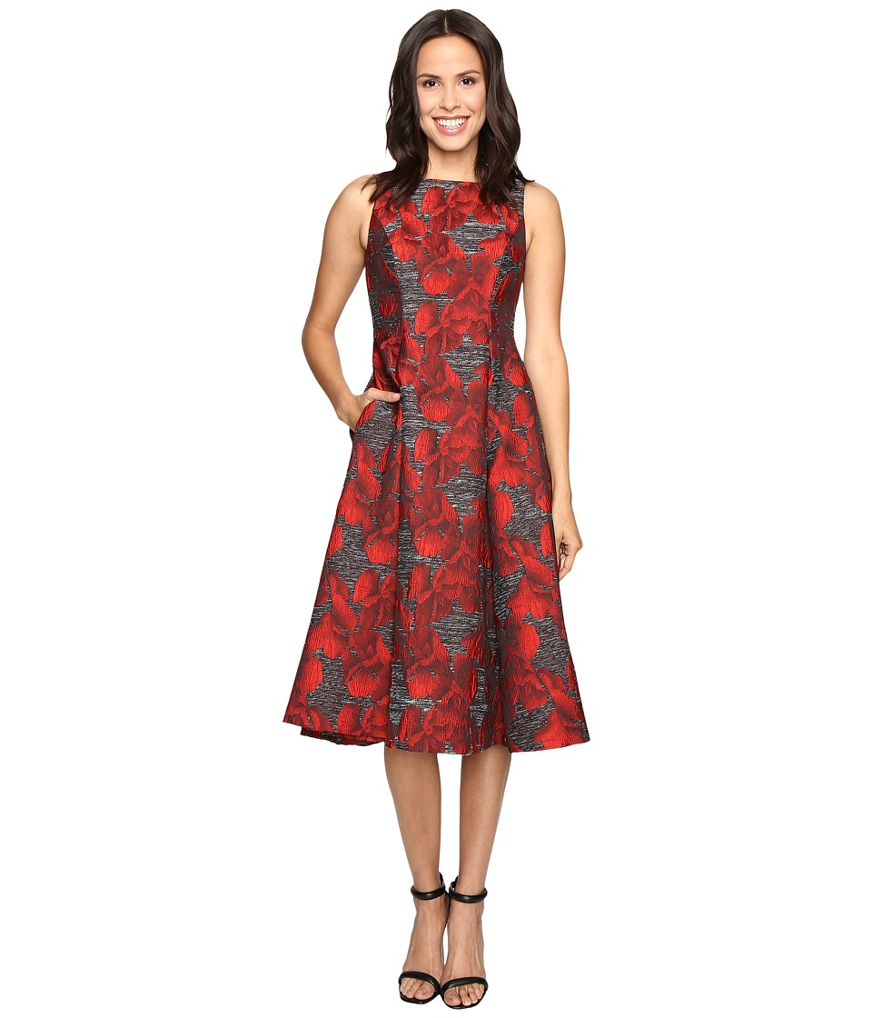 Adrianna Papell - Sleeveless Jacquard Tea Length Dress (Black/Crimson) Women's Dress