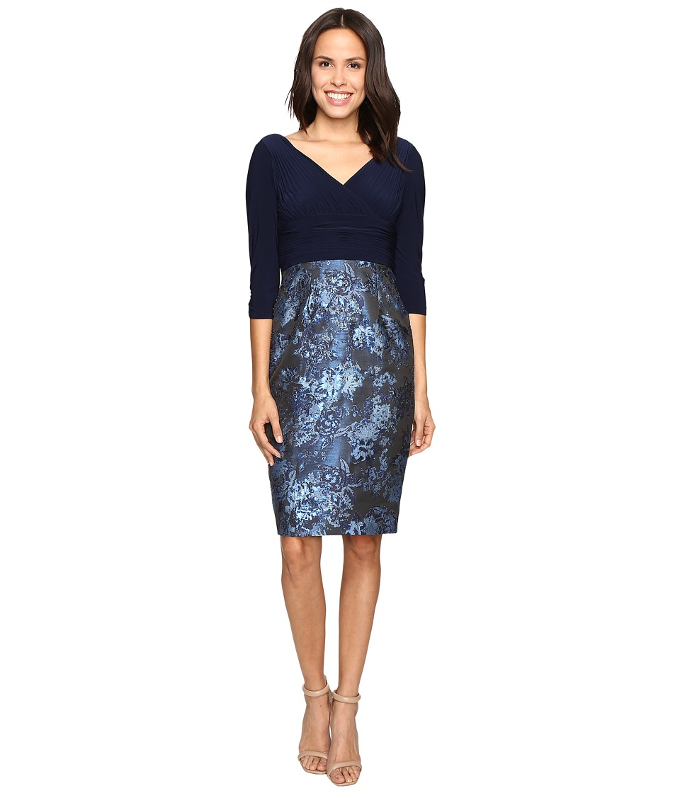 Adrianna Papell - Deep V Jersey Jacquard Dress (Midnight) Women's Dress