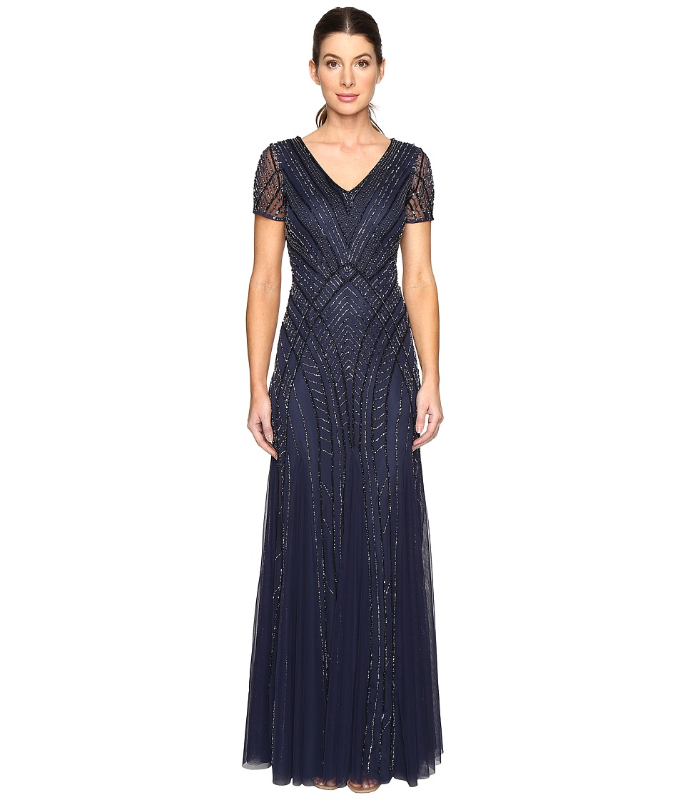 Adrianna Papell Short Sleeve Illusion Neck Beaded Gown Navy Dress