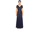 Adrianna Papell - Short Sleeve Illusion Neck Beaded Gown