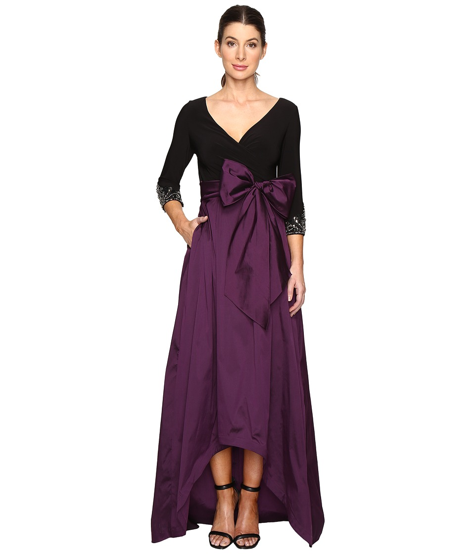 Adrianna Papell - Two-Tone Embellished Sleeve Taffeta Gown (Black/Night Wine) Women's Dress