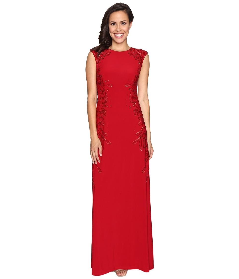 Adrianna Papell Cap Sleeve Jersey Beaded Gown (Cardinal) Women
