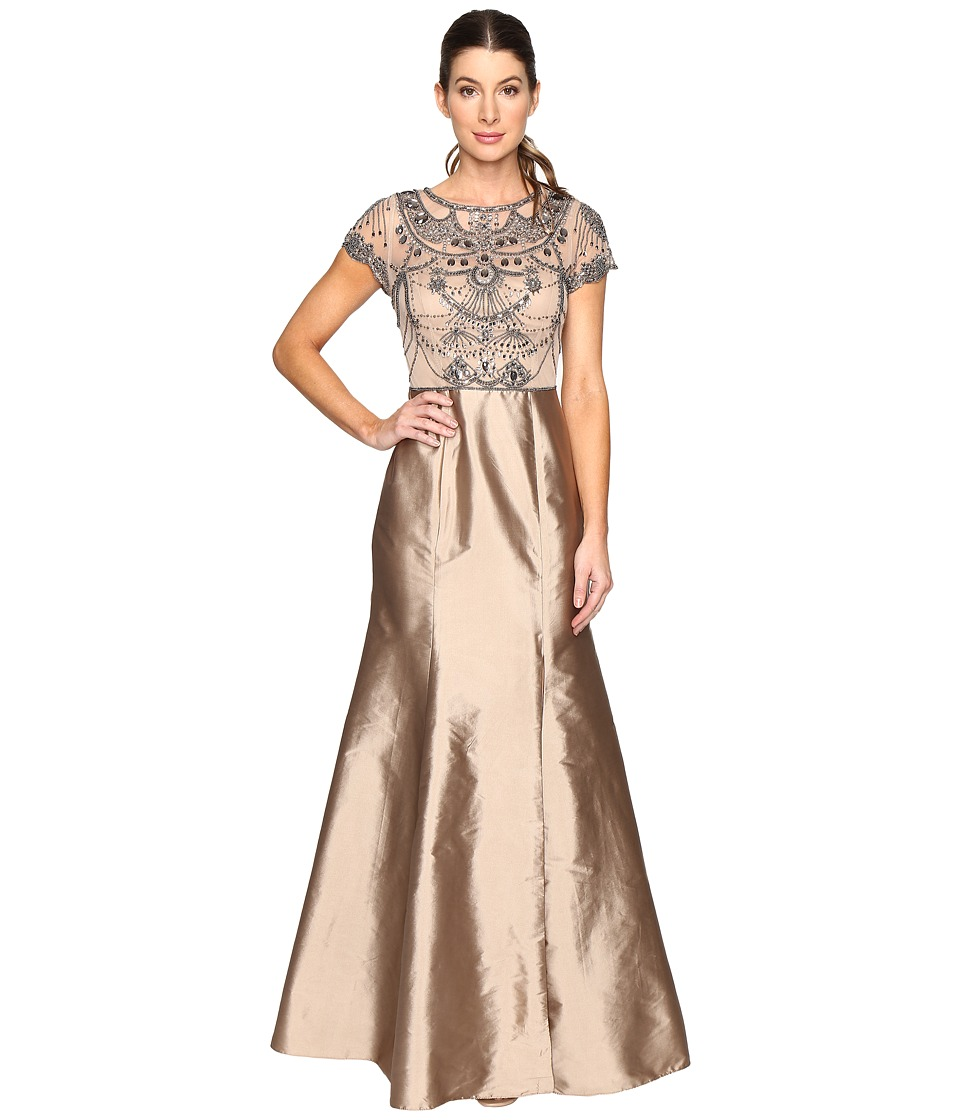 Adrianna Papell Cap Sleeve Necklace Beaded Gown (Antique Bronze) Women