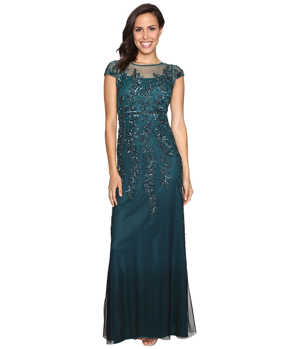 Adrianna Papell - Illusion Neckline Embellished Gown (Hunter) Women's Dress
